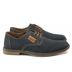 Мъжки обувки от естествен набук Rieker 13439-14 т.син ANTISTRESS | Мъжки немски обувки