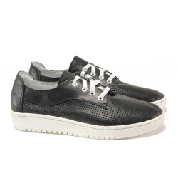 Анатомични български обувки от естествена кожа НЛ 289-1608 черен | Равни дамски обувки