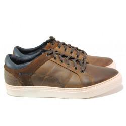 Български мъжки обувки от естествена кожа ЕМИ 004 кафяв | Мъжки ежедневни обувки