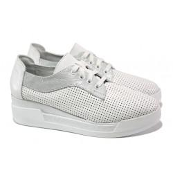 Анатомични български обувки от естествена кожа НЛ 289-8218 бял | Дамски обувки на платформа