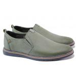 Анатомични български обувки от естествена кожа МЙ 83335 зелен   Мъжки ежедневни обувки