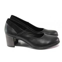 Анатомични български обувки от естествена кожа НЛ 302-527 черен | Дамски обувки на среден ток