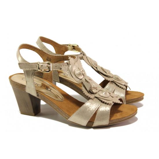 Дамски сандали от естествена кожа Caprice 9-28306-22 злато   Немски сандали на ток