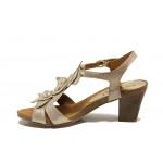 Дамски сандали от естествена кожа Caprice 9-28306-22 злато | Немски сандали на ток