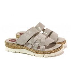 Дамски чехли от естествен набук Jana 8-27400-22 таупе RELAX | Немски чехли и сандали