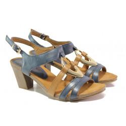 Дамски сандали от естествена кожа Caprice 9-28308-22G т.син-кафяв | Немски сандали на ток