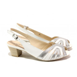 Дамски сандали от естествена кожа Caprice 9-28206-22H бял-сребро | Немски сандали на ток
