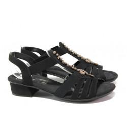 Дамски сандали на комфортно ходило Rieker V6206-00 черен ANTISTRESS   Немски сандали на ток