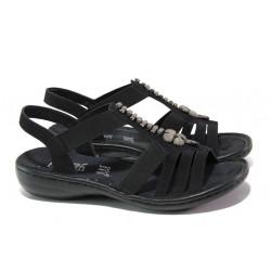 Дамски сандали на комфортно ходило Rieker 60806-00 черен ANTISTRESS | Немски равни сандали