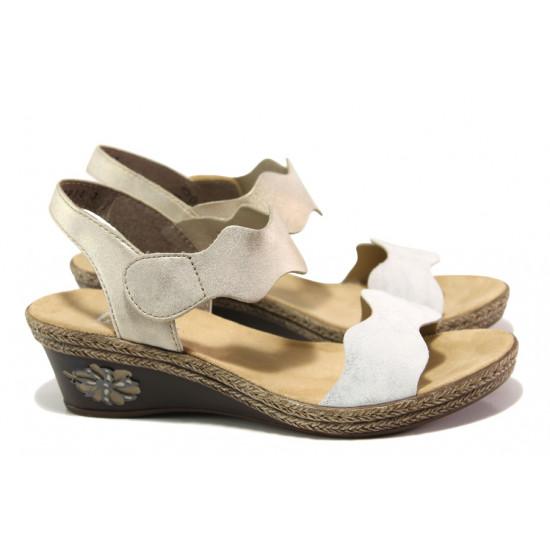 Дамски сандали на комфортно ходило Rieker V2402-80 бял-бежов ANTISTRESS | Немски сандали на платформа