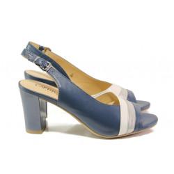 Дамски сандали от естествена кожа Caprice 9-28314-22G т.син | Немски сандали на ток