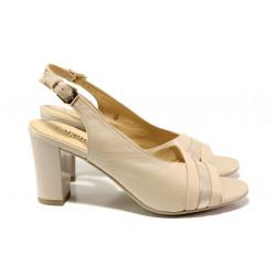 Дамски сандали от естествена кожа Caprice 9-28314-22G бежов | Немски сандали на ток