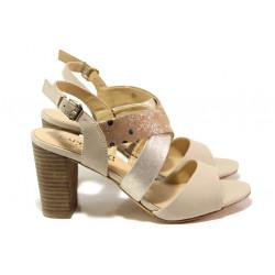 Дамски сандали от естествена кожа Caprice 9-28312-22G бежов злато | Немски сандали на ток