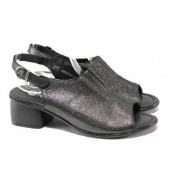 Дамски сандали от естествена кожа Remonte R8753-02 черен металик | Немски сандали на ток