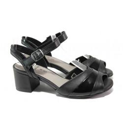 Анатомични дамски сандали от естествена кожа Jana 8-28300-22 черен | Немски сандали на ток