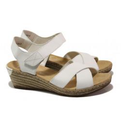 Дамски сандали от естествена кожа Rieker 62443-80 бял ANTISTRESS | Немски сандали на платформа