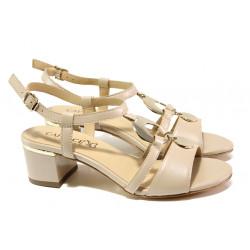Дамски сандали от естествена кожа Caprice 9-28211-22G бежов | Немски сандали на ток
