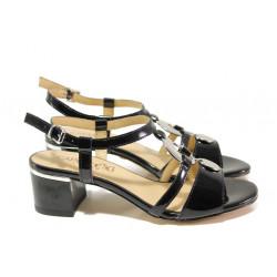 Дамски сандали от естествена кожа-лак Caprice 9-28211-22G черен лак | Немски сандали на ток