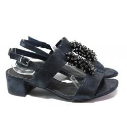 Комфортни дамски сандали Marco Tozzi 2-28204-22 син металик | Немски сандали на ток