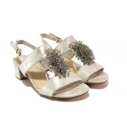 Комфортни велурени сандали Marco Tozzi 2-28204-22 бежов металик | Немски сандали на ток