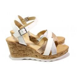 Дамски сандали от естествена кожа S.Oliver 5-28301-22 бял | Немски сандали на платформа
