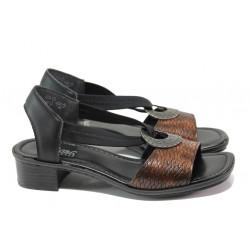 Комфортни дамски сандали Rieker 62662-25 кафяв ANTISTRESS | Немски сандали на ток