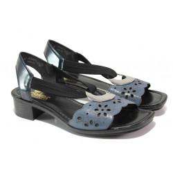 Дамски сандали от естествена кожа Rieker 62672-12 син ANTISTRESS | Немски сандали на ток