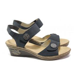 Дамски сандали от естествена кожа Rieker V24B9-14 т.син ANTISTRESS | Немски сандали на платформа