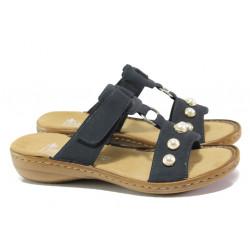 Дамски чехли с велкро лепенка Rieker 608P1-14 т.син ANTISTRESS | Немски чехли и сандали