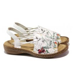Анатомични дамски сандали Rieker 628D1-90 бял ANTISTRESS | Немски чехли и сандали