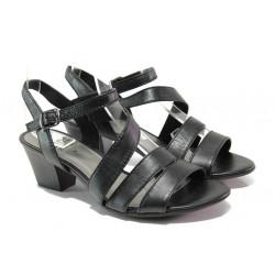 Анатомични дамски сандали от естествена кожа Jana 8-28312-22 черен | Немски сандали на ток