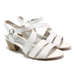 Анатомични дамски сандали от естествена кожа Jana 8-28312-22 бял | Немски сандали на ток