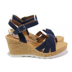 Дамски сандали от естествен велур S.Oliver 5-28301-22 син | Немски сандали на платформа