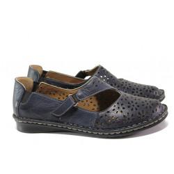 Анатомични дамски обувки от естествена кожа МИ 101-10 син | Равни дамски обувки