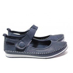 Анатомични мокасини от естествена кожа МИ 306-1010 син | Равни дамски обувки