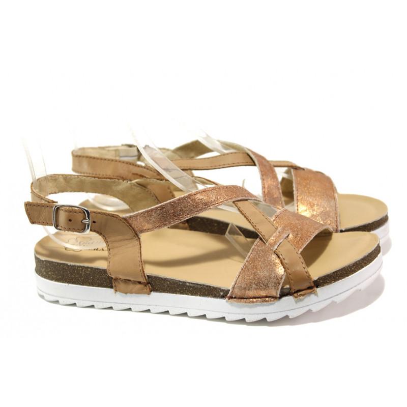 310de1d19ab Анатомични български сандали от естествена кожа ГР 08011 кафяв | Равни  дамски сандали