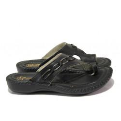Анатомични български чехли от естествена кожа ГР 4024 черен | Дамски чехли
