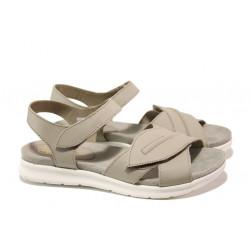 Анатомични български сандали от естествена кожа ГР 48009 сив | Равни дамски сандали