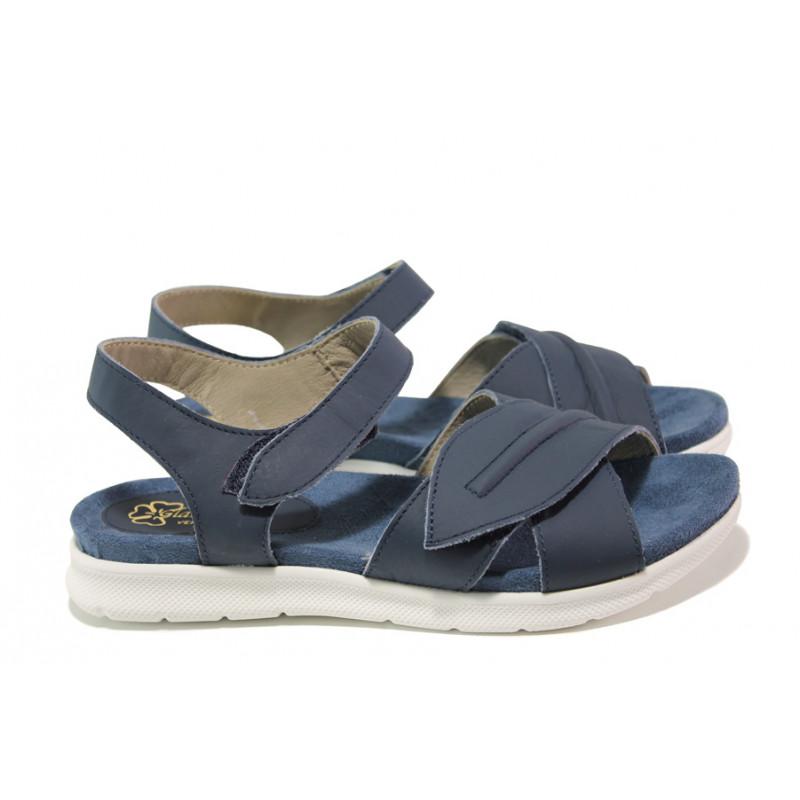 a48573688ed Анатомични български сандали от естествена кожа ГР 48009 син | Равни дамски  сандали