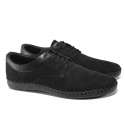 Мъжки обувки от естествен набук ФЯ 12352 черен | Мъжки ежедневни обувки