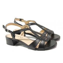 Дамски сандали от естествена кожа Caprice 9-28201-22G черен | Немски сандали на ток