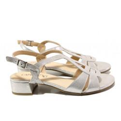 Дамски сандали от естествена кожа Caprice 9-28201-22G сребро | Немски сандали на ток