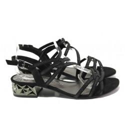 Дамски велурени сандали Marco Tozzi 2-28210-22 черен | Немски сандали на ток