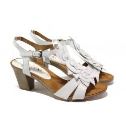 Дамски сандали от естествена кожа Caprice 9-28306-22 бял | Немски сандали на ток