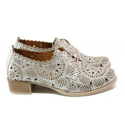Анатомични обувки от естествена кожа МИ 105 св.бежов-сребро | Дамски обувки на среден ток