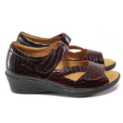 Дамски ортопедични обувки от естествена кожа-лак SOFTMODE 6954 бордо | Дамски обувки на платформа