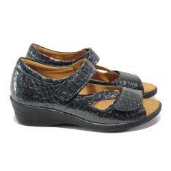 Дамски ортопедични обувки от естествена кожа-лак SOFTMODE 6954 т.сив | Дамски обувки на платформа
