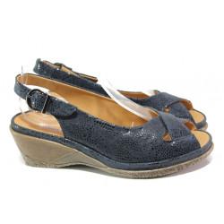 Дамски ортопедични сандали от естествена кожа SOFTMODE Calimera т.син | Дамски сандали на платформа