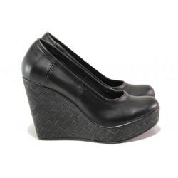 Анатомични български обувки от естествена кожа НЛ 299-96134 черен | Дамски обувки на платформа