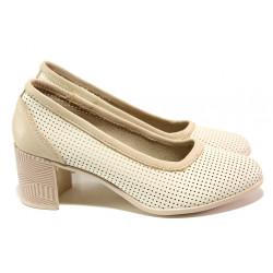 Анатомични български обувки от естествена кожа НЛ 286-527 сахара | Дамски обувки на среден ток
